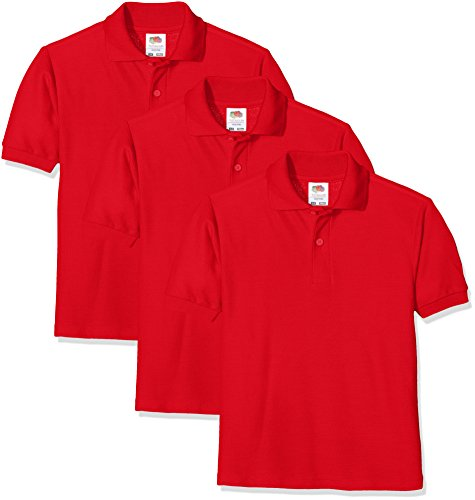 Fruit of the Loom Unisex Baby Short Sleeve Polohemd, rot, 5-6 Jahre (3er Pack)