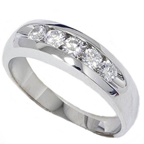 Mens 3/4ct Diamond White Gold Wedding Ring Band New - Size 11.5