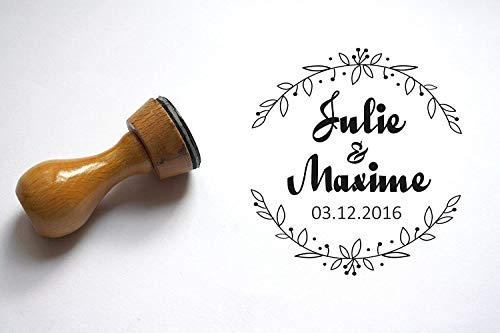 Hochzeitsstempel Benutzerdefinierte Stempel. Zur Personalisierung des Briefumschlags, mit den Namen und datum