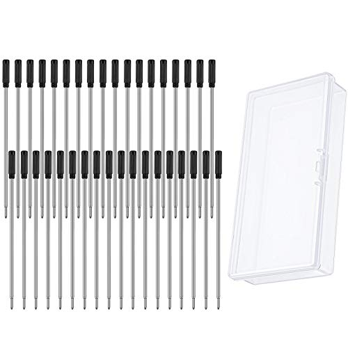 36 Pieces Cross Compatible Pen Refills Metal Ballpoint Pen Refills 1.0 mm Ink Pen Refills with Clear Plastic Pen Box for Home, Office, School, Stationery Supplies (Black)