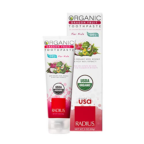 RADIUS USDA Kids Organic Toothpaste, Dragon Fruit, Non Toxic, Designed to Improve Gum Health, For Children 6 Months and Up