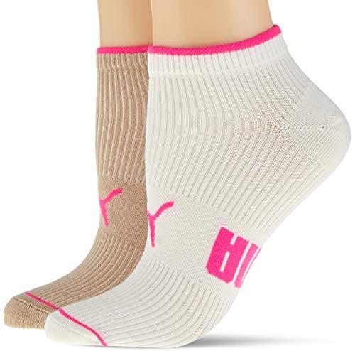 PUMA Women's Ribbed Sneaker-Trainer Socks (2 Pack) Chaussette décontractée, Nomade, 35/38 (Lot de 2) Femme
