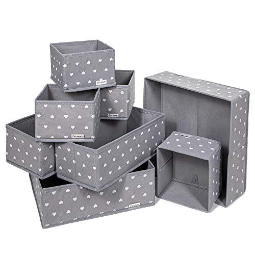 8 Aufbewahrungsboxen Stoff in ver. Größen | Organizer Schublade | Stabil, nicht wabbelig | Ordnungssystem für Schrank, Schublade & mehr | Schrank Stoffbox | Aufbewahrungsbox Schublade