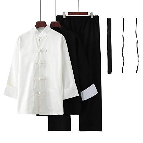 WWAIHY Chino Uniforme Artes Marciales Trajes de Tai Chi,Bruce Lee Wing Chun Kung Fu Uniforme,Uniforme Tradicional Marciales Shaolin,Algodón Ropa de Entrenamiento(Color:Traje de tres piezas,Size:Height