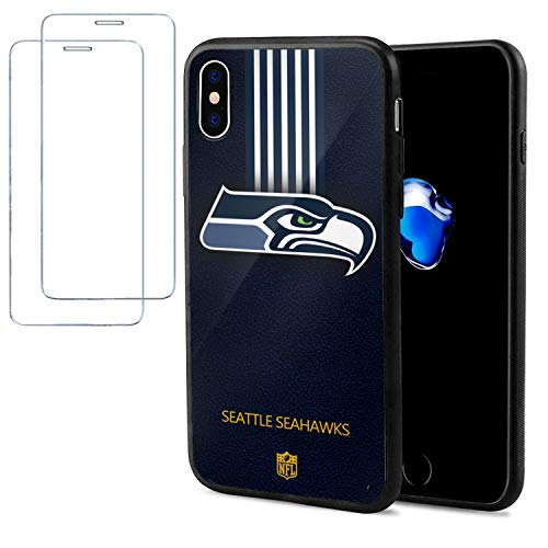 Phone Case for iPhone X Case/iPhone Xs Case with 2Pcs Tempered Glass Screen Protectors- 5.8'' Case Soft TPU Non-Slip Protective Desgin for iPhone X Case/iPhone Xs Case -Team Logo Case -Seahawks