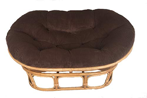 Papasans Unlimited Double Papasan Cushion with Velcro Tags - Microsuede Black Fabric