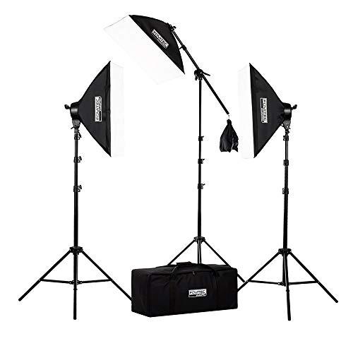 Fovitec - Kit de iluminación para Estudio de fotografía y vídeo, 2500 W, 51 cm x 71 cm, Incluye Funda de Transporte para fotografía (Enchufe de la UE)