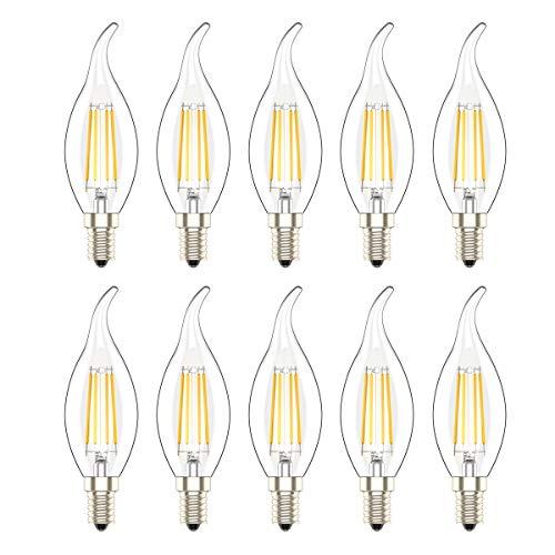 10er Pack E14 C35 LED Kerze Fimament Lampe,Retrofit Classic, 30W Entspricht Glühlampe, 300LM, Klar Glas, Dimmbar,Warmweiß 2700K, LED Birne LED Kerzenlampen, LED Kerzenleuchten, LED Leuchtmitte