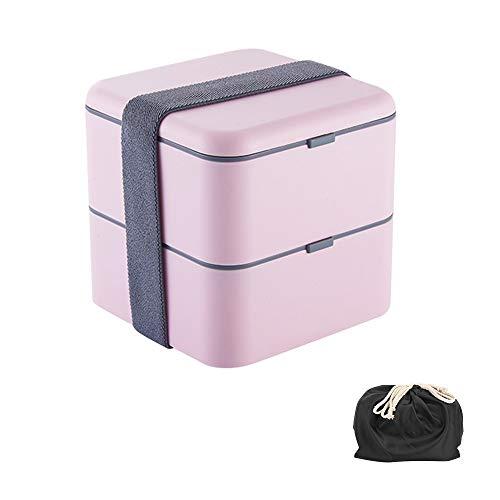 Caja De Plástico De 1700ml, Caja con Doble Capa Y Cubertería, Caja para Comida, Muy Adecuada para Almuerzos Y Meriendas para Niños Y Adultos (Color : Pink)