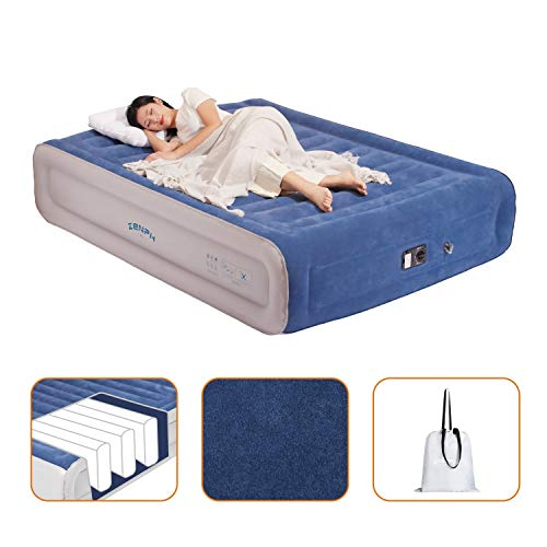 Zenph Air Bed, Inflatable Queen Size Double airbed,Air Mattress with Built-in Pump Storage Bag Comfortable Flocked Top 203 x152x 45.7cm, Blue