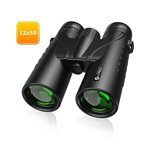 Fernglas Slopehill Fernglas12x50 HD Kompakte Ferngläser für Erwachsene und Kinder IPX7 Wasserdichtes Teleskop mit BAK4 FMC und Weitwinkelokular für Vogelbeobachtung, Wandern, Sport, Konzerte