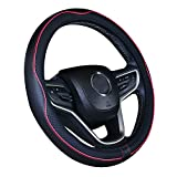 Cubierta de volante de cuero de microfibra para automóvil 15 pulgadas (negro rojo)