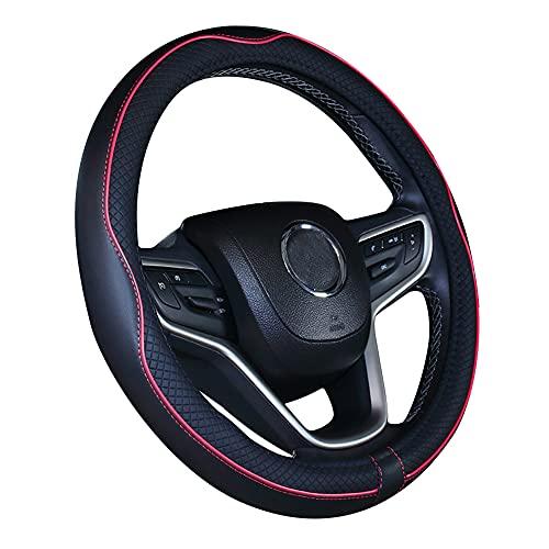 Istn Mikrofaser Leder Auto Lenkradbezug 15 Zoll (schwarz rot)