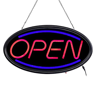 T-SIGN Open Sign,19x10 Inches Neon Open Sign with 3 Lighting Modes Led Open Signs for Business, Stores, Bars, Shops, Including Business Hour Sign and Suction Cup Hook… (19x10inch)