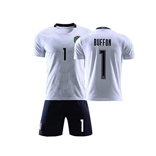 LCHENX Fan-Fußballtrikot Für Männer Und Jungen Italienische Fußballmannschaft # 1 Gianluigi Buffon Fußball Trikot Setzt,Weiß,5 Years