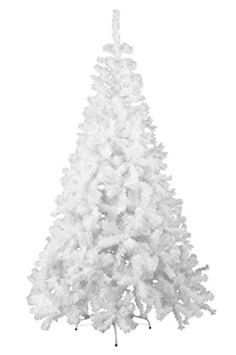 ECOLINEAR Artificial Christmas Tree Xmas Pine Tree Eco-Friendly Decorations w/Solid Metal Base (White, 5')