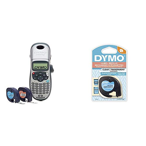 DYMO LetraTag 100H Plus Handheld Label Maker for Office or Home & Authentic LetraTag Labeling Tape for LetraTag Label Makers, Black Print on Clear pastic Tape, 1/2'' W x 13' L, 1 roll (16952)