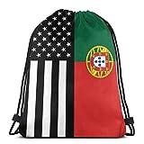 asdew987 - Zaino per la scuola, da palestra, unisex, con coulisse, borsa per allenatori con coulisse, zaino da viaggio, borsa a tracolla, borsa da viaggio con bandiera del Portogallo