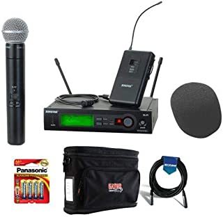 Shure SLX124/85/SM58-J3 Combo Wireless Microphone Combo System, G5/494-518 MHz Bundle With Gator Cases GM-1W Wireless System Bag, On-Stage ASWS58 Foam Windscreen, 20' XLR Mic Cable, 4x AA Batteries
