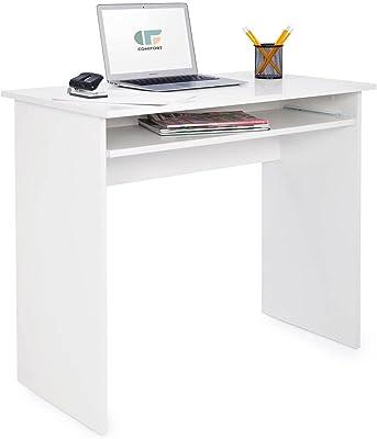 COMIFORT Bureau Informatique avec Tablette Coulissante pour Clavier - Meuble Robuste de Style Moderne et Minimaliste pour Bureau ou Salle d'Étude, Coloris Blanc