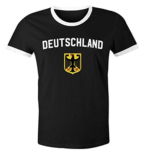 MoonWorks WM Shirt 2018 Fußball Deutschland Adler Wappen Herren Retro schwarz-weiß-gelb L