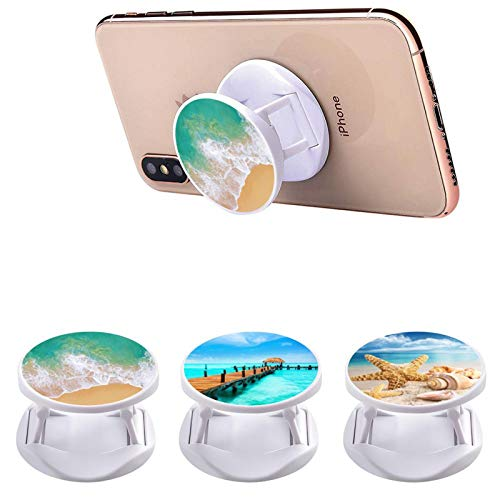 Multi-Functional Beach Ocean Pier Dock Starfish and Seashells Cell Phone Finger Foldable Stand Holder Kickstand Hand Grip Compatible with All Phones/Cases