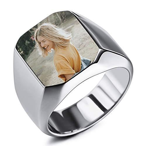 INBLUE Personalizzato Foto Anello con Sigillo Incisione Nero Immagine per Uomini Donne Acciaio Inossidabile Bundle con Regolatori della Dimensione Dell'anello (Argento Colore)