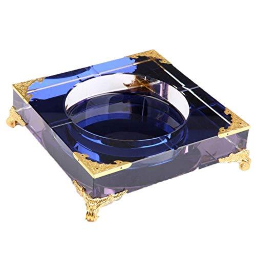 ZXL kristal asbak, woonkamer creatieve persoonlijkheid geschenk asbak kristalglas tafel decoratieve asbak 18 * 18 * 4 cm lila multicolor optioneel (kleur: paars)