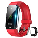 Kids Fitness Tracker Smart Watch,Body Temperature with Heart Rate Blood Oxygen Blood Pressure Monitor,Step Calorie Counter Sleep Monitor Pedometer Activity Tracker for Women Men (E-Red+Black)