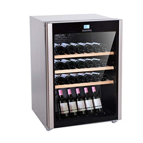 hanzeni Nevera Vino, Refrigerador Enfriador De Vino Independiente, Estante De Roble, Control De Temperatura Digital, Pantalla LCD, Ajuste De Botón Táctil