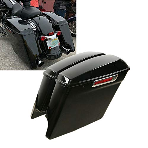TCT-MT 5' Stretched Hard Saddlebags Fit For 2014-2020 Touring Models FLT, FLHT, FLHTCU, FLHRC, Road King, Road Glide, Street Glide, Electra Glide, Ultra-Classic Painted Black 2019 2018 2017 2016 2015