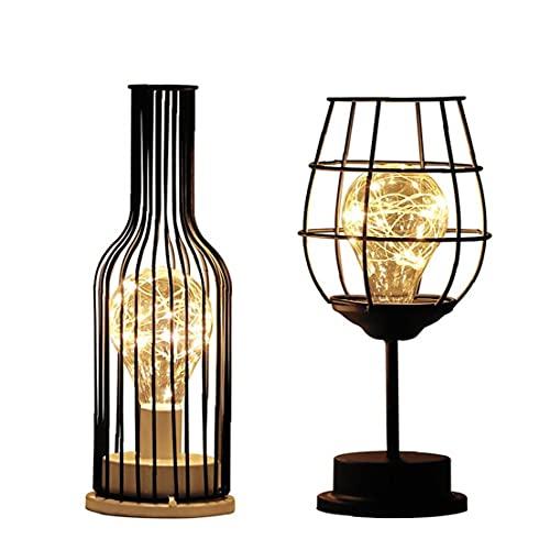 NIDONE 2pcs Copa llevó la lámpara de Escritorio de la Botella de Vino Mesa de luz Industrial Metal Hierro Hogar Moderno lámpara Decorativa