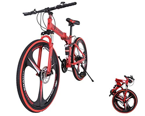 Rusilay Youth and Adult Outroad Mountain Bike,26in Folding Mountain Bike,21 Speed Bicycle Full Suspension MTB Bikes,Road Bike