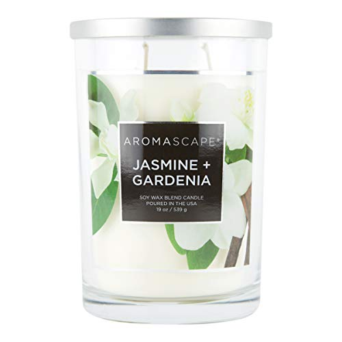 Aromascape PT41917 2-Wick Scented Jar Candle, Jasmine & Gardenia, 19-Ounce, White
