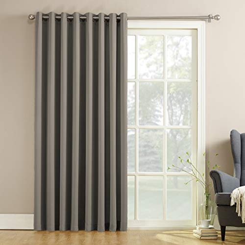 "Sun Zero Barrow Extra-Wide Energy Efficient Sliding Patio Door Curtain Panel with Pull Wand, 100"" x 84"", Gray"