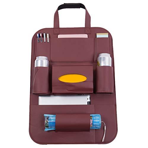 Yesiidor Leder Sitzlehne Aufbewahrungstasche Multifunktions Autositz Protector Rücksitz Organizer für Reisen Lagerung Flaschen Spielzeug Platzsparende Autozubehör, Rotwein