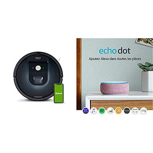 iRobot Roomba 981 - Robot Aspirador, WiFi, Aspiración de Alta Potencia, Dirt Detect, Recarga y Sigue la Limpieza + Echo Dot (3.ª generación) - Altavoz Inteligente con Alexa, Tela de Color Malva