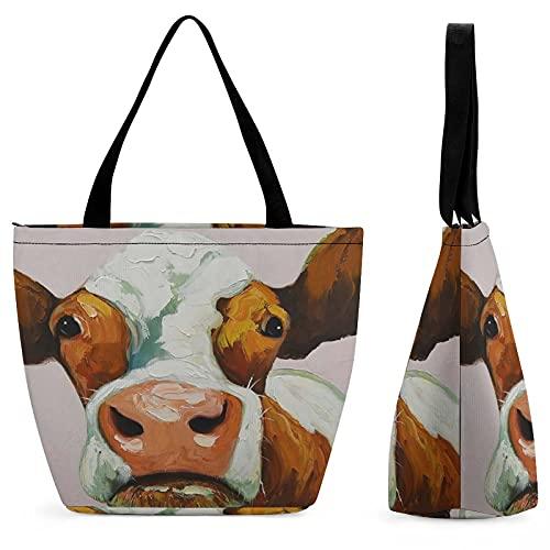 Bolso de compras de la vaca marrón para el bolso de asas de las señoras personalizado inicial bolsas de asas para las mujeres