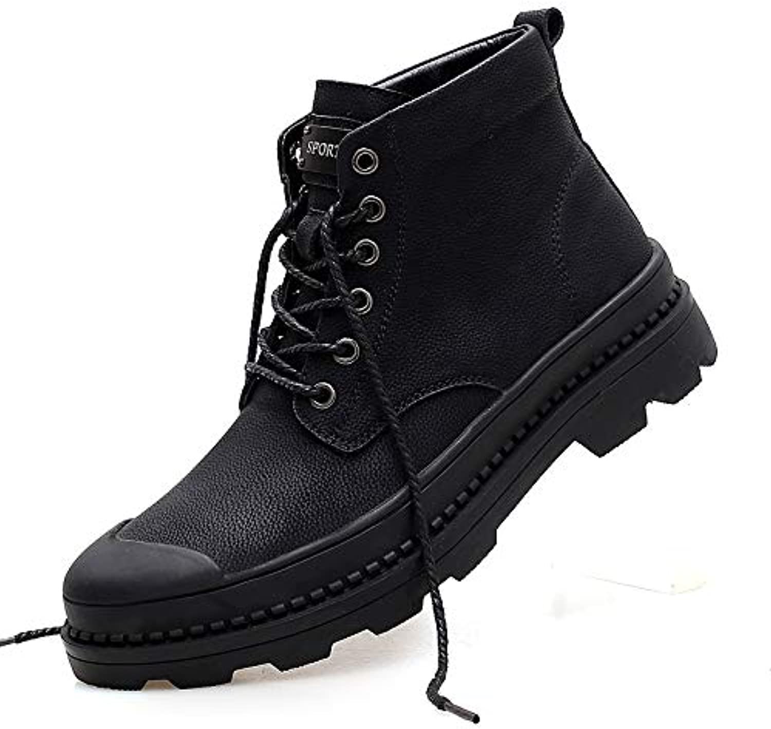 LOVDRAM Boots Men's Martin Boots Men'S Leather Boots Wild Men'S High Boots Autumn Casual Tooling Boots Men