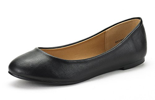 DREAM PAIRS Women s Sole-Simple Black Pu Ballerina Walking Flats Shoes - 8 M US