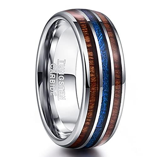 Vakki 8mm Ringe für Männer/Frauen aus Wolframkarbid, Unisex Ehering Imitation Meteorit und Holz Inlay Größe 63(20.1)