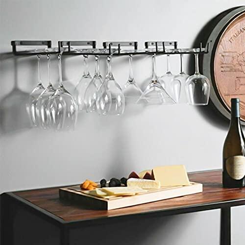 PPuujia Estante de vidrio de vino 2 unids/set restaurante estante titular almacenamiento montado en la pared 30 cm hierro vino vidrio colgante estante barra suspensión estante