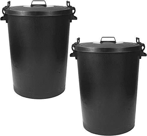 CrazyGadget Large Black Plastic Dustbin Garden Storage Unit Bin Clip On Locking Lid Heavy Duty - for Rubbish Waste Animal Feed etc. - SET OF 2 (110L)