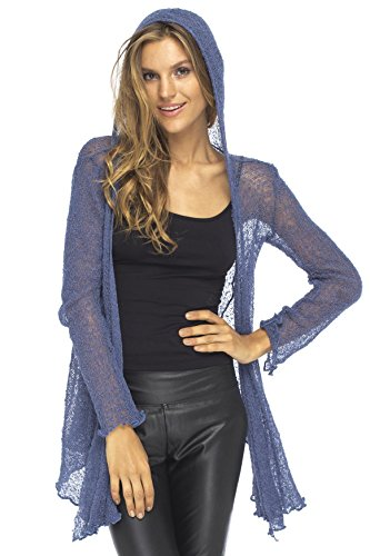 Back From Bali Womens Long Lightweight Sheer Cardigan Hoodie Open Front Hooded Knit Sweater Long Sleeve Blue Jean