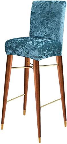 LINGKY Crushed Velvet Bar Stuhl Hocker Bezüge, Stretch Abnehmbar Waschbar Hochhocker Stuhlbezug Für Short Swivel Dinning Chair Rücken Stuhl Barhocker Stuhl (Pfauengrün,Set of 4)