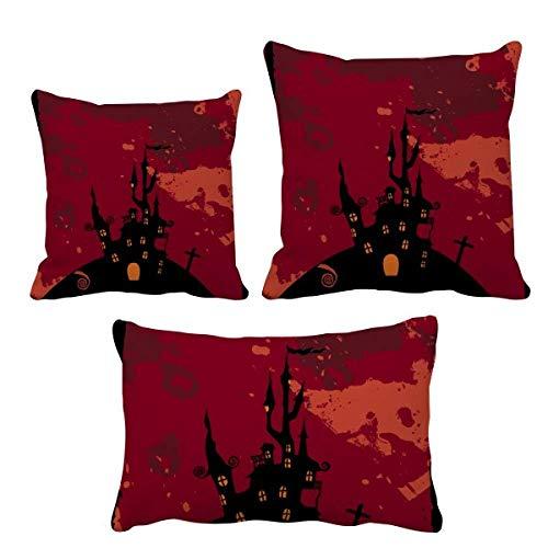 DIYthinker Castle Ghost Fear Halloween Calabaza Juego de cojines de relleno para decoración de sofá
