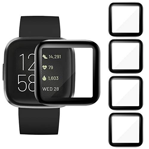 CAVN Kompatibel mit Fitbit Versa 2 Schutzfolie [4-Stück], 3D Gebogene Displayschutzfolie, Vollabdeckung, Wasserdicht Anti-Kratzer Blasenfrei Panzerglas Schutzhülle (Nicht für Versa/Versa Lite)