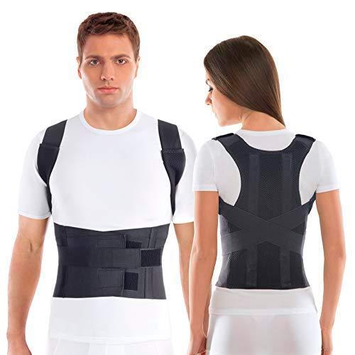 TOROS-GROUP Corrector de Postura Espalda; Soporte de Espalda y Columna Lumbar; Aliviar el dolor de Espalda y Hombro; Ajustables; para hombres y mujeres X-Small Negro ⭐