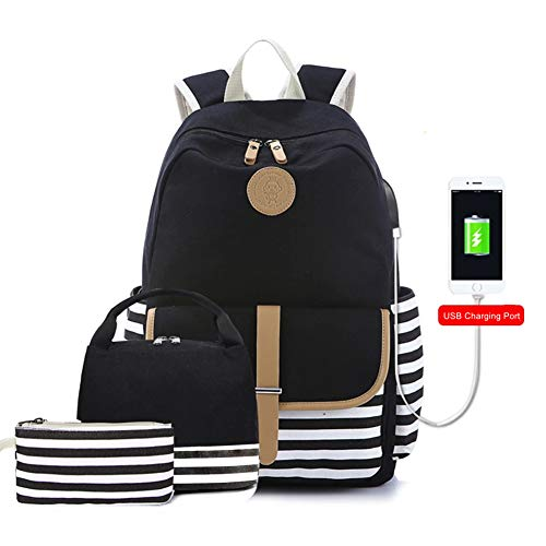 Pawsky Canvas Backpack, School Backpack for Teen Girls/Women, Cute College Bookbag Set Shoulder Bag Lunch Bag Pencil Bag, Black