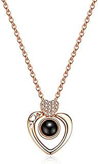 Rose Gold Heart Necklace 100 Languages I Love You Chain Necklace for Women